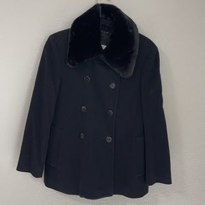 Barneys New York CO-OP Made in Italy Black Wool & Cashmere Pea Coat Faux Fur 40